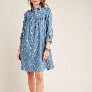 Anthropologie Ditsy floral print shirt dress 12P